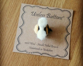 Needle Felted Brooch 'Humble Bumble'