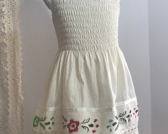 Handmade Mexican Embroidered Shirrred Sundress