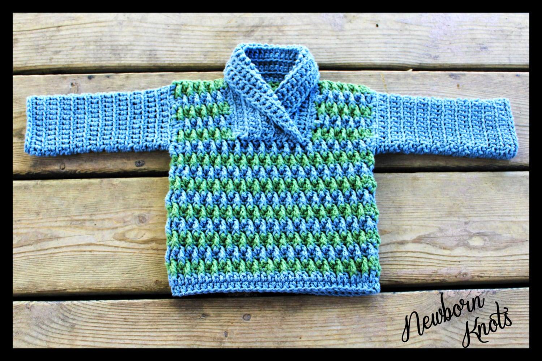 Favorite CROCHET PATTERN Baby Sweater - Boy or Girl Rippled Shawl Collar  QU34