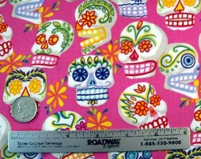 MINI CALAVERAS PINK Skull Alexander Henry Cotton Quilt Fabric - by the Yard Day of the Dead Muertos