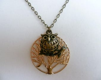 Owl and tree of life necklace,owl necklace,pagan jewelry,pendant,charm necklace,gift,wiccan jewelry,tree of life jewelry,athena owl