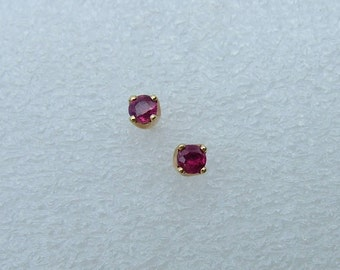 Ruby stud earrings.  Gold and Ruby stud earrings. Gold earrings with Rubies.  Ruby Earrings