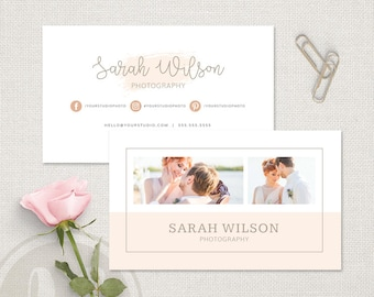 Wedding Photography Business Card - Pink Watercolor Business Card Template, Instant Download, Photoshop Template for Wedding Photographers