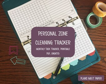 PRINTABLE Personal Zone Cleaning Monthly Tracker