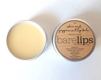 Shea & Peppermint Lip Balm 15g (Organic, Natural, Vegan)