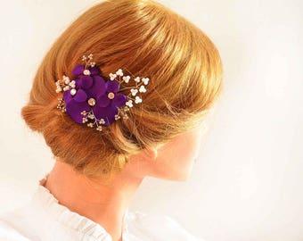 Purple hair clip, Flower headpiece, Beaded headpiece, Bridal hair clip, Pearl headpiece Wedding hair accessory bridesmaids hair clip