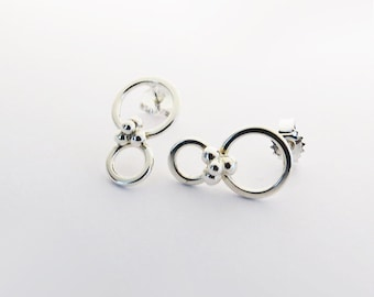 Mixed Metals 925 Silver and Copper Circle Stud Earrings Gift Boxed wxr0W