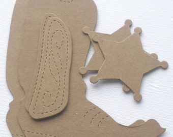 COWBOY BOOT & BADGE - Raw Alterable CHiPBOARD Bare Die Cuts