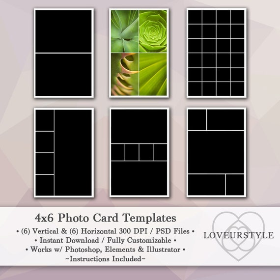 4x6 Photo Template Pack, 12 Photo Card Templates, Photo Collage ...
