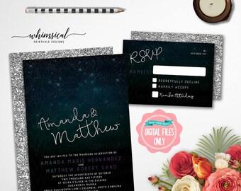 "Wedding Invitation ""Stargazers"" (Printable File Only) RSVP Card, Wedding Invite, Wedding Suite, Stargazers, Night Sky Invite, Starry Sky"