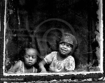 Window, Photojournalistic view of Two Children, Photographic Wall Art