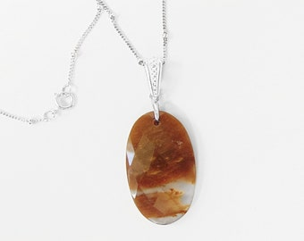 Sterling Silver Petrified Wood Necklace - Fossil Jewelry
