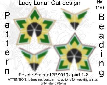 Sunflower patterns, Stars Peyote pattern, Summer patterns, Spring patterns, Flowers pattern,  Peyote stitch, Beading patterns