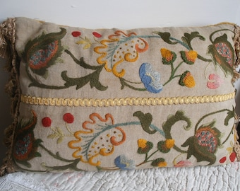 Antique crewel embroidered cushion (A)