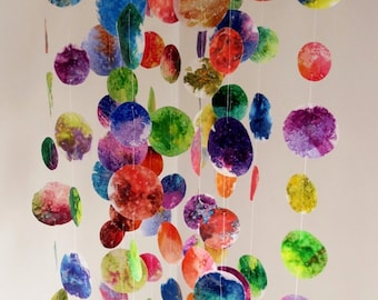 Hanging Mobile - Mothers Day Gift, Colorful Mobile, Gifts For Her, Baby Mobile, Nursery Mobile, Chandelier Mobile,  Circle Mobile