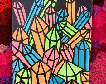 """Neon Crystals 1 Mixed Media Painting 10""""x8"""" - Pop Art Gallery Wrapped Canvas Artwork, Ready To Hang - Quartz Point Crystal Cavern Decor"""