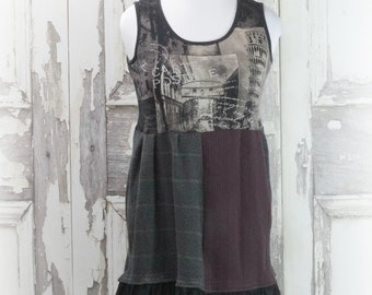 Upcycled Flannel Women's Dress, Eco Fashions, Artsy Clothing,Brown and Black Flannel Dress