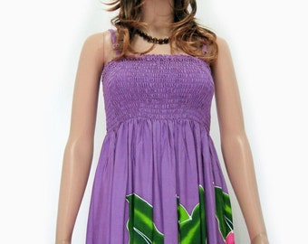 Bali Purple Hand Painted Batik Tropical Floral Sundress Bridesmaids Bridal Wedding Summer Beach Valentine Outings Free Size 1X 2X 3X