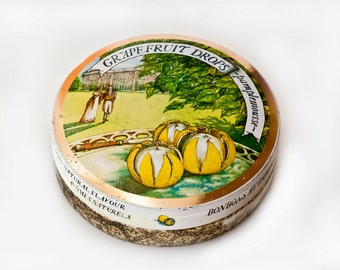 Tin Candy Box, Trinket Box, Edwardian Style, Period English Small Round Tin Box, Grapefruit Drops Tin Box, Citrus Tin Box, Made in England