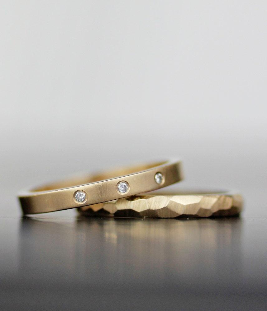 wedding ring set modern unique wedding band set womens