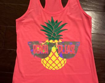 Beach Please Tank Top, Pineapple, Sunglasses, Swimsuit Cover