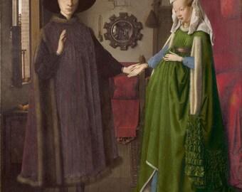 Jan van Eyck: les époux Arnolfini (1434) Galerie enveloppé Wall Art impression sur toile