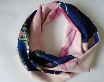 Blue and Pink Floral Japanese Kimono Silk Scarf - Vintage Japanese Kimono Fabric