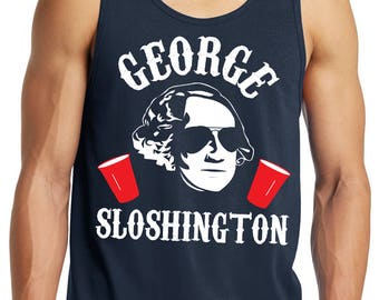 GEORGE SLOSHINGTON 4th of JULY Tank Top Men's - Navy Blue, Fourth of July Tank Top, Drinking Tank, President Tank Top, Patriotic, Beer
