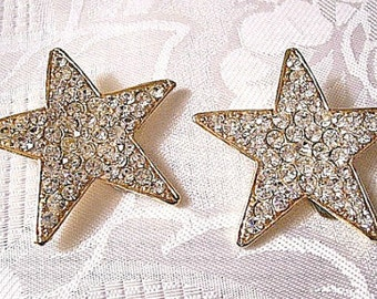 Super Star Crystal Clip On Earrings Gold Tone Vintage Extra Large Round Clear Faceted Rhinestone Encrusted Rib Rimmed Edges