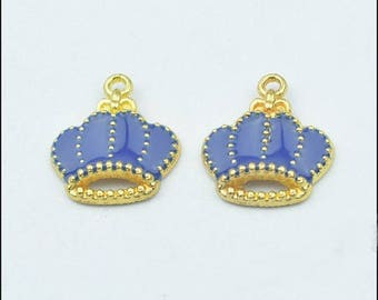 5 charms blue enameled golden crowns King, 18 * 16mm