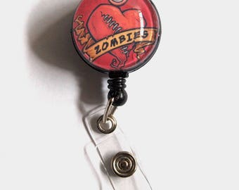 I Love Zombies Retractable Badge Reel, Zombie Badge Holder, Zombie Badge Clip, Living Dead Badge Reel, ID Badge Holder, Zombie Gift for Him