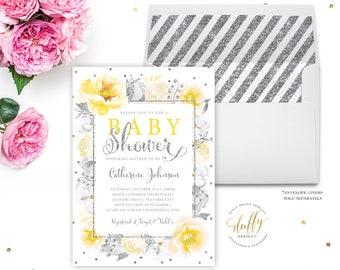 Baby Shower Invitation, Baby Shower Invite, Gender Neutral Baby Shower Invitation, Yellow Gray Baby Shower Invitation, Watercolor Invitation