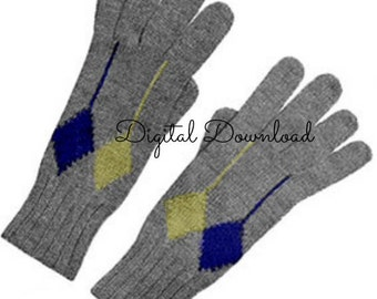 Men's Knit Argyle Gloves, Classic Vintage 1940's Pattern, Digital Download, PDF Instant