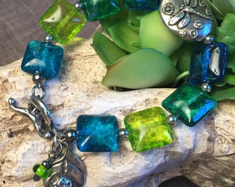 DRAGONFLY POND, artisan lampwork and sterling silver bracelet
