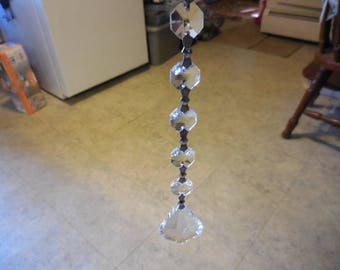 1 New Hanging Faceted Crystals Supplies Window Catcher Chandelier Replacement Repurpose Recycle Reuse 6 Crystals Silver Tone Hangers Supply