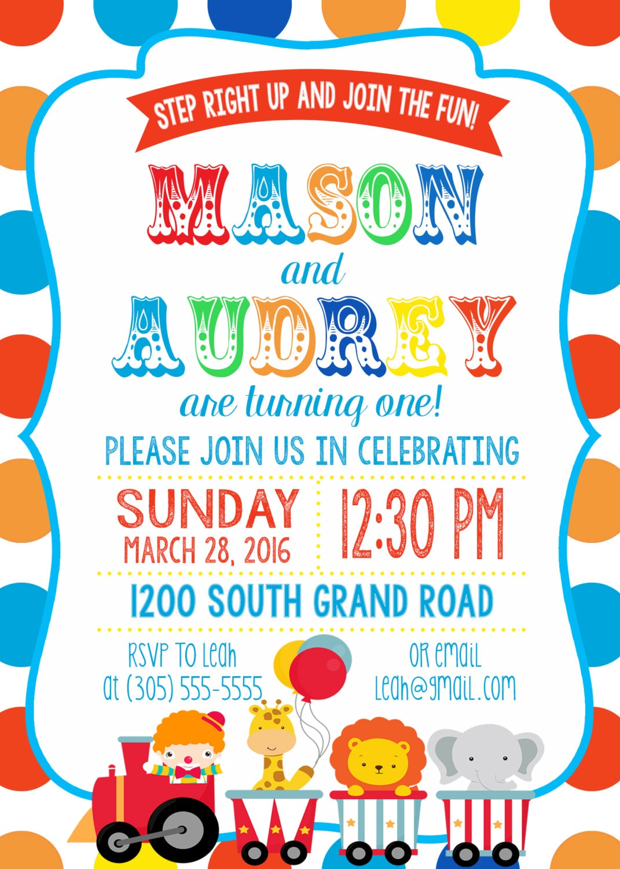 Twin Circus Birthday Party Invitation, Boy Girl Twins, Polka Dot ...