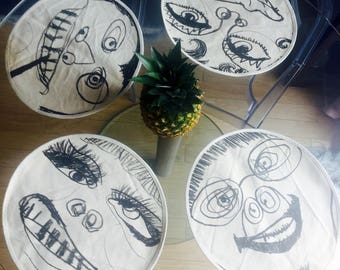 Set Of 4 Hand Drawn Contemporary Portrait Placemats