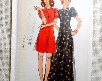 Butterick 3385 1970s kawaii dress Vintage Sewing Pattern Bust 32.5 puffy sleeve Mini Maxi keyhole
