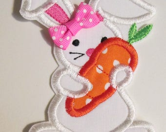 Easter Bunny with Carrot - Iron On or Sew On Embroidered Applique Patch