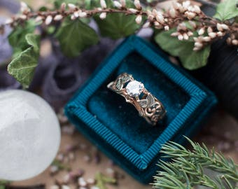 Swirly Elvish Rose and Palladium White Gold Engagement Ring with 5 mm Moissanite - Unique Filigree Alternative Leaves Leaf Twig Swirl
