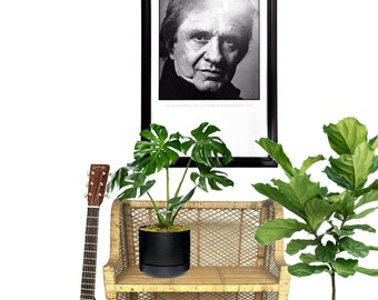 Vintage Johnny Cash Portrait Framed Print Hasselblad Camera Black & White Photography Art Rock N Roll Legend Sweden Advertising Hassleblad
