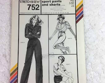 Stretch and Sew 752 Sewing Pattern Sport Pants and Shorts Hip Sizes 30-46  / designed by Ann Person / all sizes included / plus size