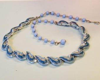 Vintage Coro blue enamel necklace, Coro necklace, Coro, Blue Necklace, Blue Enamel Necklace