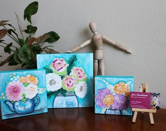 Flowers and Happiness - The Teal Canvas Collection - Mixed Media original art