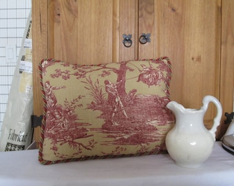 Red Toile French Country Pillow