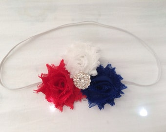Mini Flower Patriotic Red White and Blue Headband/ Shabby Flower Headband/ Newborn Headband/ Baby Headband/ Flower Girl/ Wedding/ Photo Prop