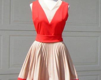 Vintage 60s Jane Jetson Orange Dress Flirty Pleated Skirt - Poly Knit Cutie