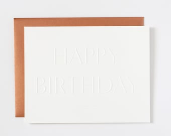 Pure White Embossed Birthday Card, Copper / Blue Envelope