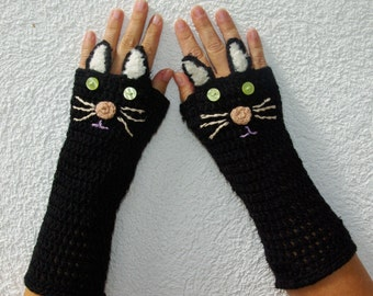 "Crochet Gloves: ""ANIMAL GLOVES"" Fingerless Gloves Black Cat Gloves Hand Warmers Hand Knit Black Cats Mittens Winter accessory A20"