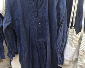 French Artisan dyed 19th century rustic linen shirt distressed